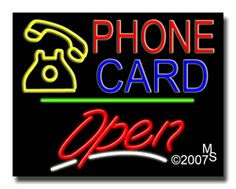 "Phone Card Open Neon Sign - Script Text - 24""x31""-ANS1500-4918-3g  31"" Wide x 24"" Tall x 3"" Deep  Sign is mounted on an unbreakable black or clear Lexan backing  Top and bottom protective sides  110 volt U.L. listed transformer fits into a standard outlet  Hanging hardware & chain included  6' Power cord with standard transformer  Includes 2nd transformer for independent OPEN section control  For indoor use only  1 Year Warranty on electrical components."