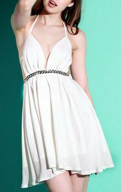 White V Plunge Front Dress