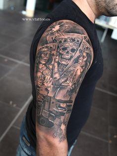 og abel design tatued by miguel bohigues Mehr Skull Sleeve Tattoos, Tattoo Sleeve Designs, Tattoo Designs Men, Body Art Tattoos, Gangsta Tattoos, Badass Tattoos, Tattoos For Guys, Cool Tattoos, Vegas Tattoo