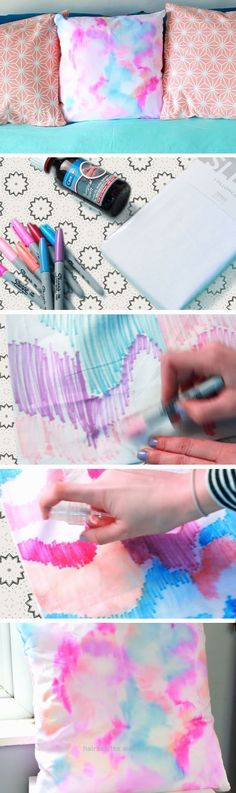 Insane Water Color Pillows | DIY Spring Room Decor Ideas for Teens | Easy Summer Crafts for Kids to Make  The post  Water Color Pillows | DIY Spring Room Decor Ideas for Teens | Easy Summer Cr .. #craftsforkidstomake