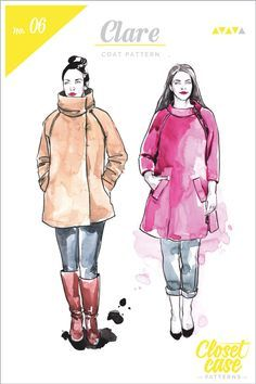 Introducing the Clare Coat Pattern, a chic winter coat pattern with raglan sleeves, a funnel colour and a chic A-line shape. Features step by step instructions.