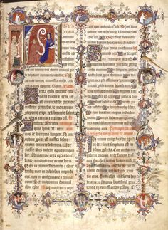 Sherborne Missal, Annunciation to Mary - XIV cent.  British Library, London - BL AddMss, 74236, f. 13r