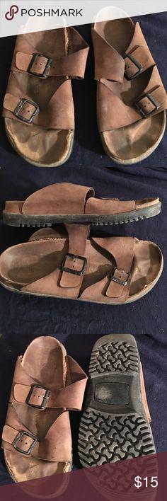 MENS BIRKENSTOCK LEATHER WALKING SANDALS SIZE 10 PREOWNED GOOD STURDY WALKING SANDAL BY BIRKENSTOCK  PREOWNED WORN STILL STRONG MENS SIZE 10 BIRKENSTOCK Shoes Sandals
