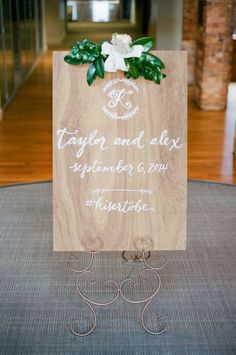 Medium stained plywood wedding welcome sign with a custom monogram. Woodsy Wedding, Camp Wedding, Wedding In The Woods, Wedding Table, Floral Wedding, Our Wedding, Wedding Stuff, Wedding Ideas, Wedding Under Trees