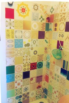 Funky tiles in Brazilian bathroom ....what a great idea ... All different colorful tiles