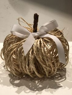 This easy to make Cute Rustic Twine Pumpkin is the one you need to decorate your home with this fall. Budget friendly home decor! Just That Perfect Piece Theme Halloween, Fall Halloween, Halloween Crafts, Fake Pumpkins, Fabric Pumpkins, Pumpkin Art, Pumpkin Crafts, Autumn Crafts, Holiday Crafts