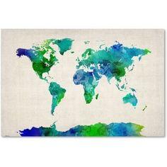 Michael Tompsett 'World Map Watercolor' Canvas Art, Multi