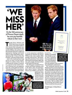 An article with Princess Diana's sons, regarding the 10th anniversary of her death.