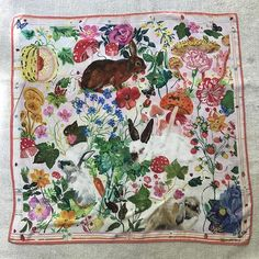Scarf Designs Nathalie Lete Silk Scarf - Bunnies Kitchen installation: things to consider. Turbans, Headscarves, Gypsy, Textiles, Scarf Design, Vintage Scarf, Silk Painting, Silk Scarves, Print Patterns