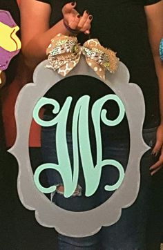 Wooden Door Hanger Monogram • Single Letter Monogram door hanger ▪ painted at Craft Night Out located in Historic Downtown Statesville Nc Letter Door Hangers, Initial Door Hanger, Wooden Door Hangers, Front Door Initial, Front Door Decor, Front Porch, Diy Monogram, Monogram Initials, Monogram Alphabet