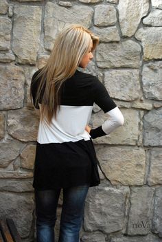 Black and White Color Block Cardigan. soo neat!