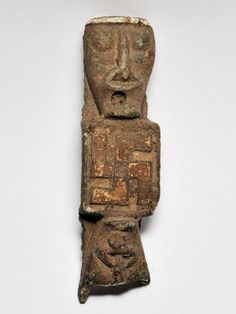 """Viking age image found in Norway with a """"good luck"""" (swastika) symbol carved in it's chest. From the Sanscrit """"su"""" means """"good"""" and """"asti"""" meaning """"to be"""","""