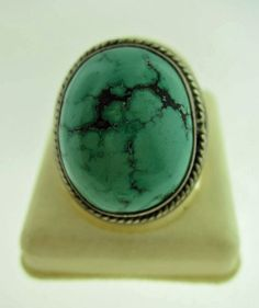 Vintage turquoise and sterling silver rope banded ring