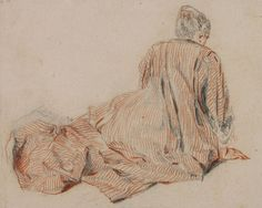 Watteau, 'Woman Seen from the Back Seated on the Ground, Leaning Forward', c.1717-18. Red and black chalk, wash and graphite on paper, fully glued to backing 145 x 182 mm. The Trustees of the British Museum, London, inv. 1895-9-15-936. Photo © The Trustees of the British Museum, London.