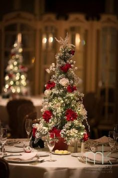 Christmas tree wedding centerpieces