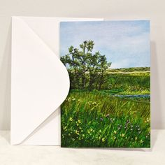 Blank Greeting Card No.2 with Envelope Featuring Images of Prairie Threadpaintings Embroidered by Monika Kinner-Whalen