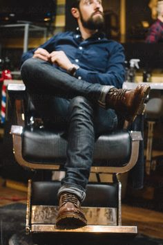 painted chairs - Young Man Sits In Barber Chair At Shop Stocksy United Tony Barber, Village Barber, Boy Cuts, Barber Chair, Got The Look, Sharp Dressed Man, Beard Styles, Types Of Fashion Styles, Dapper