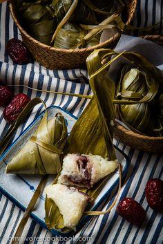Zongzi with Red Bean Paste (Sticky Rice Dumplings)   omnivorescookbook.com via @OmnivorCookbook