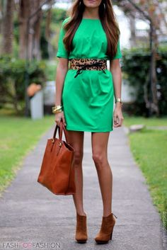 Lime green dress and browns