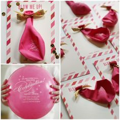 Diy balloon invitations diy projects pinterest balloon party diy pink birthday balloon invitations also great to use on mini beach balls solutioingenieria Image collections
