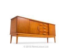 Danish Teak Sideboard Credenza Drinks Cabinet G Plan Eames Era Retro RetroLicious Ltd