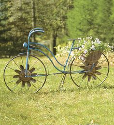 Vintage Bicycle Planter With Wheel Spinners And Solar Light