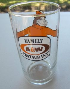 A & W Rootbeer Vintage Glass with Rootbear A&W Family Restaurant Drinking Glass #AWROOTBEER  Please RePinit & Retweet Thanks