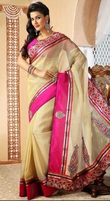 Exquisite Buttercream Embroidered Saree