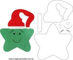 Molde de Natal para E.A Feltro e Artesanato - Estrela 01 - Felt Christmas Decorations, Felt Christmas Ornaments, Christmas Makes, Christmas Crafts, Felt Crafts, Holiday Crafts, Preschool Christmas, Christmas Templates, Felt Patterns