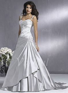 Wedding Dresses - $221.78 - A-Line/Princess Sweetheart Chapel Train Charmeuse Wedding Dress With Ruffle Beading Appliques Lace (00205001385)