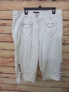 Ashley Stewart jeans cropped capri womens size 18W stretch studded back pockets #AshleyStewart #CapriCropped