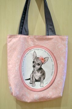 Chihuahua pink  tote bag dog lover gift dog multi by MimoCadeaux, $45.00