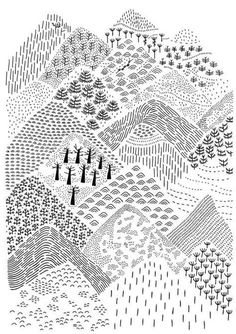 landscape zentangle art * landscape zentangle ` landscape zentangle patterns ` landscape zentangle ideas ` landscape zentangle art ` landscape zentangle colour ` zentangle landscape nature ` zentangle landscape line drawings ` zentangle landscape tree art Doodle Drawings, Doodle Art, Doodles, Art Plastique, Zentangles, Art Lessons, Art Projects, Illustration Art, Mountain Illustration