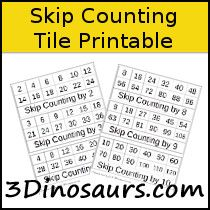 Skip Counting Tile Printables - 3Dinosaurs.com
