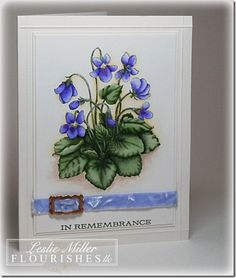 handmade card ... clean and simple layout ... botanical violets ... Copic colors ... luv how the shadowing makes the image stand out from the background ... Flourishes ...