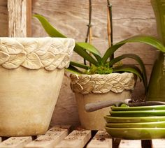 WONDERFUL TUTORIAL! Really looks DESIGNER!  Pottery Barn knock-off leaf planters tutorial. EASY and inexpensive.