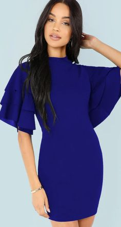 e5abdd38a5ab Form Fitting Tiered Ruffle Sleeve Dress (affiliate) Fabulous Dresses