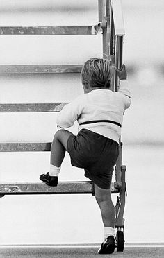 Determined: Despite the huge gap (for him), William insisted on climbing up himself. The future kings determination, too cute Princess Kate, Princess Of Wales, Lady Diana Spencer, Diana Son, Eugenie Of York, Royal Photography, Lady Louise Windsor, Baby Park, English Royal Family