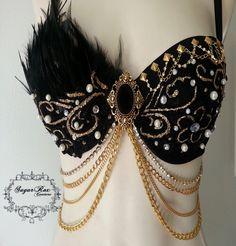 Black Enchanted Bra Gold and Black Rave Bra by SugarRoxCouture, $75.00