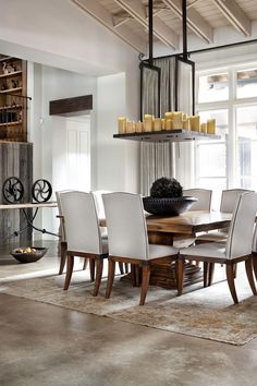 Rustic Texas Home - dining room ~ I love this look for a farmhouse. It's clean and stylish, yet not 'finished'. The materials used make it a house that can very well be lived in. For a farm, it's perfect!! ~ Sheila