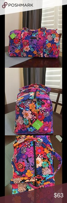 """NWT VERA BRADLEY LARGE DUFFEL BAG Brand new with tags Vera Bradley large duffel  Floral Fiesta  pattern  15"""" strap drop Handy outside end pocket Folds flat for easy storing Dimensions 22"""" W x 11½"""" H x 11½"""" D - 15"""" strap drop  Smoke/pet free home Vera Bradley Bags Travel Bags"""