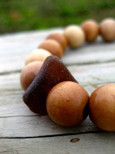 Hawaiian Amber Brown Beach Glass with Wooden Prayer Beads on Elastic Black Cord UNISEX Bracelet.  Handmade with Aloha!! $16.50