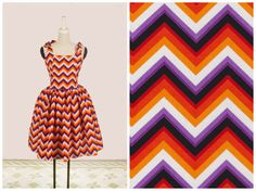 "Gilda Dress ""Charlie Brown on Acid"" in Chevron Zig Zag Print - Orange Purple Black"