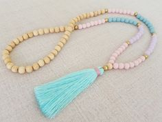 Hey, I found this really awesome Etsy listing at https://www.etsy.com/listing/265915567/pastel-colored-tassel-necklace-with-teal