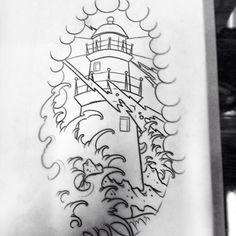 lighthouse japanese traditional tattoo idea