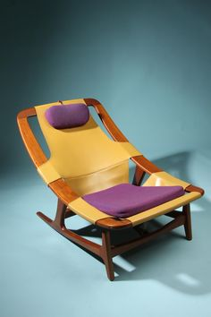 Designed by Arne Tidemand-Ruud, Norway. 1959. Teak, leather, wool and ...