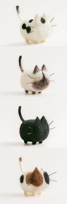 Felted Dot Black Cat. Felted Siamese Cat. Felted Black Cat. Felted Dot Brown and Black Cat. DIY Needle Felting Kit Needlecrafts Faceless Cat. Felted Cats. Needle felting kits easy for a beginner! 100% Wool. Gift for home. Cute kitty. Tiny cats.