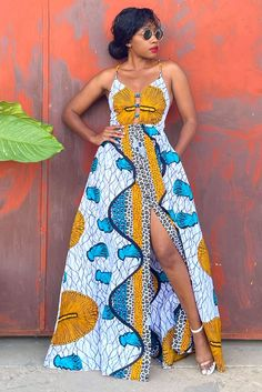 Long African Dresses, Latest African Fashion Dresses, Long Dresses, Ankara Maxi Dress, Girl Outfits, Fashion Outfits, Look Plus, Maxi Robes, Spaghetti Straps