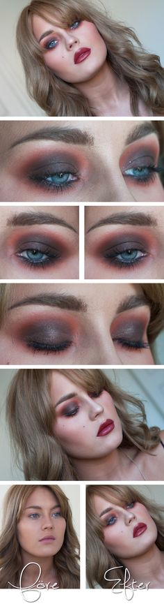 """Today's Look : """"Angelica"""" -Linda Hallberg (can you say vampy?! This is a gorgeous look throughout, with red/wine through the eyes, blush and lips.) 08/17/13"""