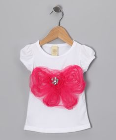 Mia Belle Baby - White and Pink Rosette Bow Cap Sleeve Tee